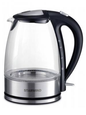 Чайник Starwind SKG7650 1.7л. 2200Вт серебристый/черный (стекло). Цвет: серый