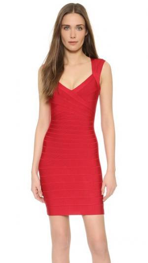 Платье без рукавов Sarai Herve Leger. Цвет: красная помада