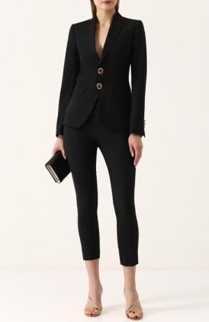 Шерстяной однотонный костюм с укороченными брюками Dsquared2. Цвет: черный