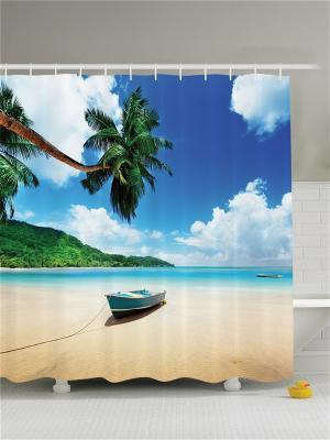 Фотоштора для ванной Лодка на берегу, 180*200 см Magic Lady. Цвет: белый, голубой, горчичный, желтый, зеленый, кремовый, молочный, синий, черный
