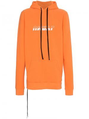 Длинная толстовка с капюшоном и логотипом Unravel Project. Цвет: жёлтый и оранжевый