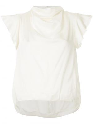 Блузка с высоким воротом 08Sircus. Цвет: белый