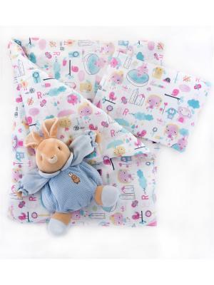 Комплект 5 предметов Девочки DAISY. Цвет: светло-голубой,светло-желтый,розовый