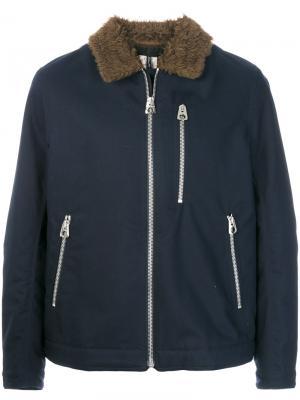 Куртка бомбер на молнии Santoni. Цвет: синий