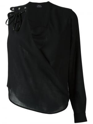 Блузка с одним рукавом Anthony Vaccarello. Цвет: чёрный