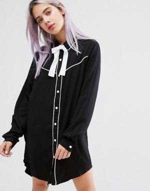 Lazy Oaf Платье-рубашка с воротником в ковбойском стиле и надписью Dead Inside. Цвет: черный