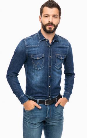 Синяя джинсовая рубашка с карманами Wrangler W59837T8E