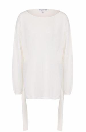 Пуловер свободного кроя с укороченной спинкой Elizabeth and James. Цвет: белый