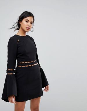 Finders Keepers Платье мини с расклешенными рукавами Solar. Цвет: черный