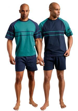 Пижама, 2 штуки LE JOGGER. Цвет: зеленый+темно-синий