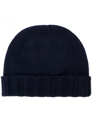 Вязаная шапка с ребристым подолом Drumohr. Цвет: синий