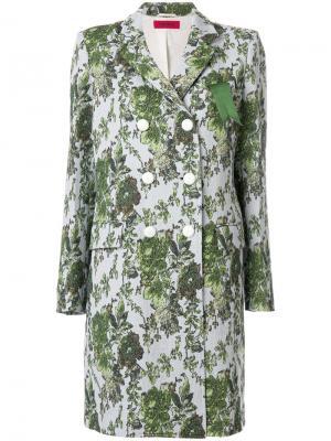 Пальто с жаккардовым цветочным узором The Gigi. Цвет: синий