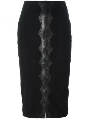 Юбка с бархатным эффектом и завышенной талией Alaïa Vintage. Цвет: чёрный