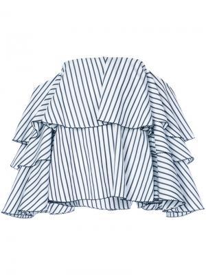 Блузка в полоску с открытыми плечами Caroline Constas. Цвет: белый