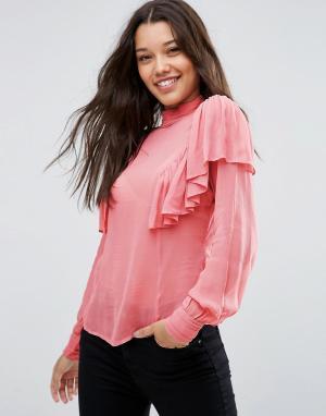 ASOS Полупрозрачная блузка с рюшами и высокой горловиной. Цвет: розовый