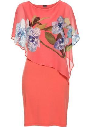 Платье с шифоновой накидкой (ярко-розовый/коралловый рисунком орхидеями) bonprix. Цвет: ярко-розовый/коралловый с рисунком с орхидеями