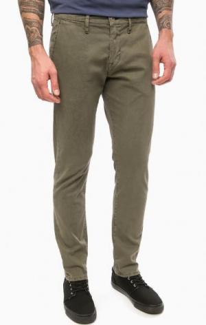 Зауженные брюки из хлопка цвета хаки Mustang. Цвет: хаки