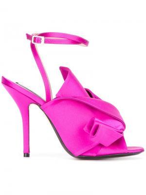 Босоножки с перекрученными деталями Nº21. Цвет: розовый и фиолетовый