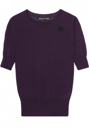 Пуловер прямого кроя с коротким рукавом и перфорацией Rochas. Цвет: фиолетовый