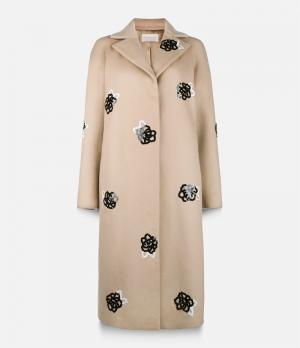 Пальто с деталями из пайеток Christopher Kane. Цвет: телесный