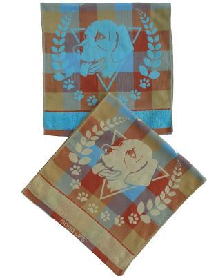 Набор полотенец A and C Collection. Цвет: голубой, светло-коричневый