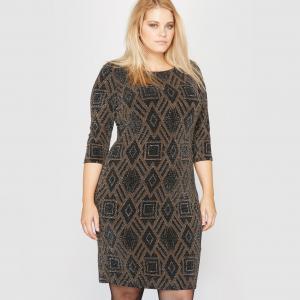 Платье вечернее из блестящего трикотажа CASTALUNA. Цвет: черный/медный/золотисто-черный