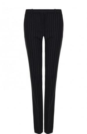 Шерстяные расклешенные брюки в полоску BOSS. Цвет: темно-синий
