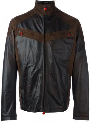Кожаная куртка с панельным дизайном Kiton. Цвет: коричневый
