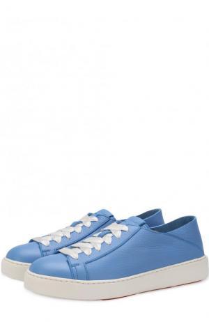 Кожаные кеды на шнуровке Santoni. Цвет: голубой