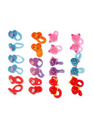 Резинка для волос детская (24 шт.) Happy Charms Family. Цвет: голубой, фиолетовый, красный, оранжевый, розовый