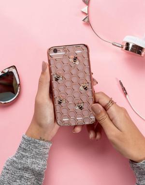 Skinnydip Золотисто-розовый чехол для iPhone 6/6S/7 с пчелой. Цвет: мульти