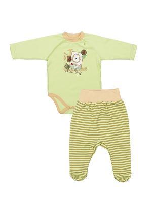 Комплект одежды: боди-водолазка, ползунки Коллекция Лёва КОТМАРКОТ. Цвет: светло-зеленый