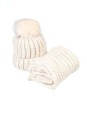 Комплект шапка и снуд Mitya Veselkov. Цвет: молочный