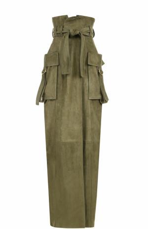 Замшевая юбка с накладными карманами Balmain. Цвет: хаки