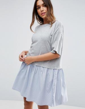 ASOS Свободное платье-футболка с тканым присборенным подолом. Цвет: серый