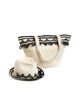 Комплект (сумка, шляпа) Moltini. Цвет: белый, черный