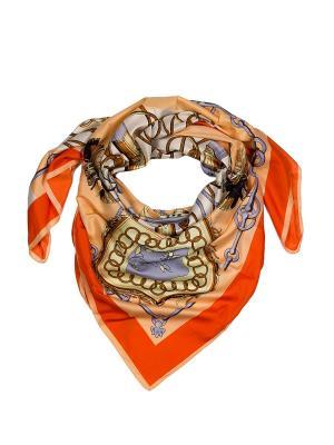 Платок 130х130 AnnA Wolf. Цвет: оранжевый, желтый, кремовый