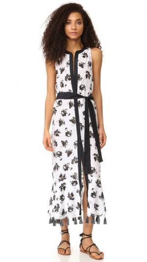 Пляжное платье с изображением падающих цветов Proenza Schouler. Цвет: белый