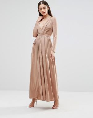 Sistaglam Платье макси с длинными рукавами и разрезом спереди. Цвет: бежевый