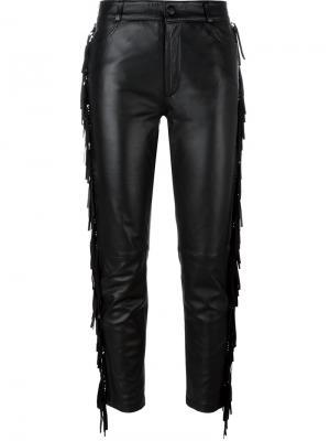 Кожаные укороченные брюки Jeremy Scott. Цвет: чёрный