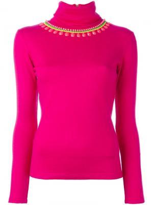 Декорированный пуловер с отворотной горловиной Manish Arora. Цвет: розовый и фиолетовый