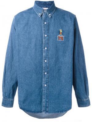 Джинсовая рубашка с нашивкой Bart Joyrich. Цвет: синий