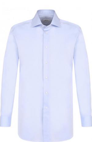 Хлопковая сорочка с воротником кент Brioni. Цвет: голубой