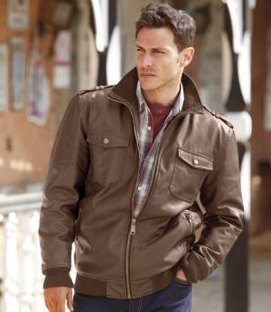 Куртка из Искусственной Кожи AFM. Цвет: коричневыи