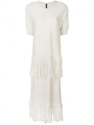 Вязаное платье с бахромой Sara Lanzi. Цвет: телесный