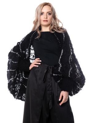 Болеро безразмерное Черно-серебряное вязаное вилкой SEANNA. Цвет: черный
