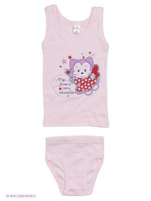 Майка+трусы дев. ML0109 01 цвет ангел кошка. розовый Квирит. Цвет: розовый