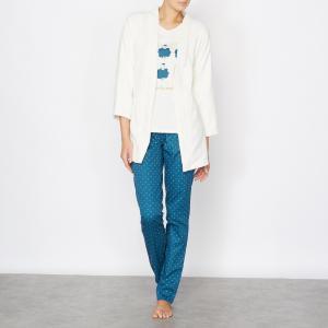 Пижама из 3-х предметов LOVE JOSEPHINE. Цвет: синий/экрю