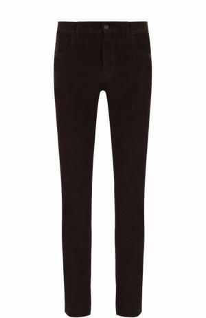 Хлопковые брюки прямого кроя Brioni. Цвет: коричневый