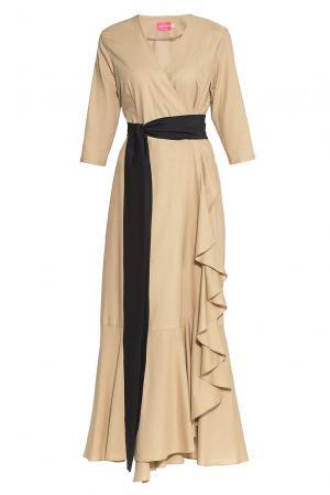 Платье из хлопка с поясом 173271 Hello Russia. Цвет: бежевый